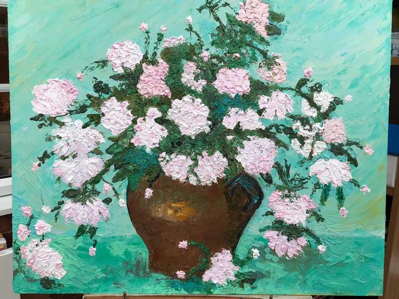 Flowers in a Brown Jug