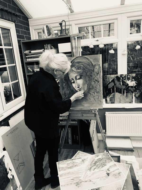 Marie Baird Painting in Home Studio