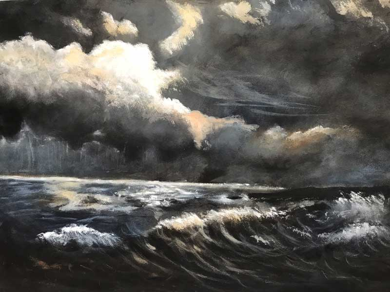 Moonlight Over a Dark Sea (Sold)
