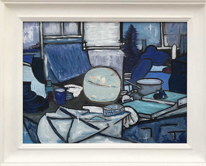 """Still Life in Blue after Mondrian - size 40.4 cm X 30.6 cm OR 16"""" X 12 oil on board"""